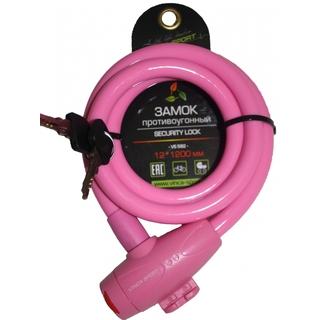 Велозамок тросовый Vinca sport VS 582 pink